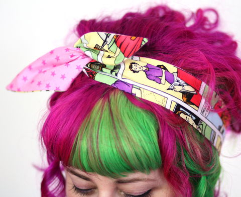 Reversible,Wired,Bow,Headband,,Comic,Strip,and,Pink,Stars,dolly bow headband, wired, tie hair band