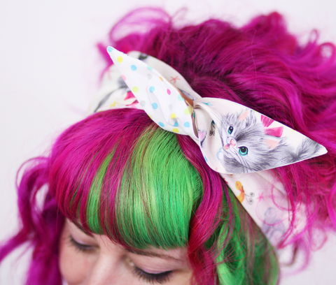 Reversible,Wired,Bow,Headband,,Kitten,Print,and,Pastel,Polka,Dots,dolly bow headband, wired, tie hair band