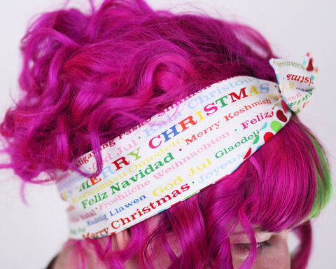 Reversible,Wired,Bow,Headband,,Merry,Christmas,Print,with,Multi,Colour,Polka,Dot,dolly bow headband, wired, tie hair band