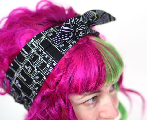 Reversible,Wired,Bow,Headband,,Black,Keyboard,and,Circuit,Board,dolly bow headband, wired, tie hair band