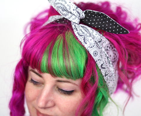 Reversible,Wired,Bow,Headband,,Doily,Lace,Print,with,Black,and,White,Spots,dolly bow headband, wired, tie hair band
