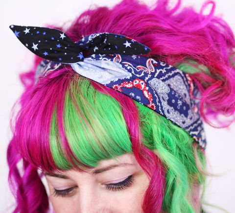 Reversible,Wired,Bow,Headband,,Bandana,Style,Print,and,Navy,Stars,dolly bow headband, wired, tie hair band