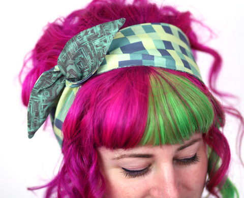 Reversible,Wired,Bow,Headband,,Green,Pixels,with,Grey,and,Circuit,Board,dolly bow headband, wired, tie hair band
