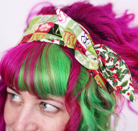 Reversible,Wired,Bow,Headband,,Vintage,Style,Christmas,Prints,,Holly,and,Merry,dolly bow headband, wired, tie hair band