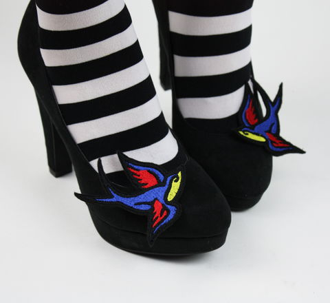 Tattoo,Style,Swallow,Shoe,Clips,shoe clips, geek, cute