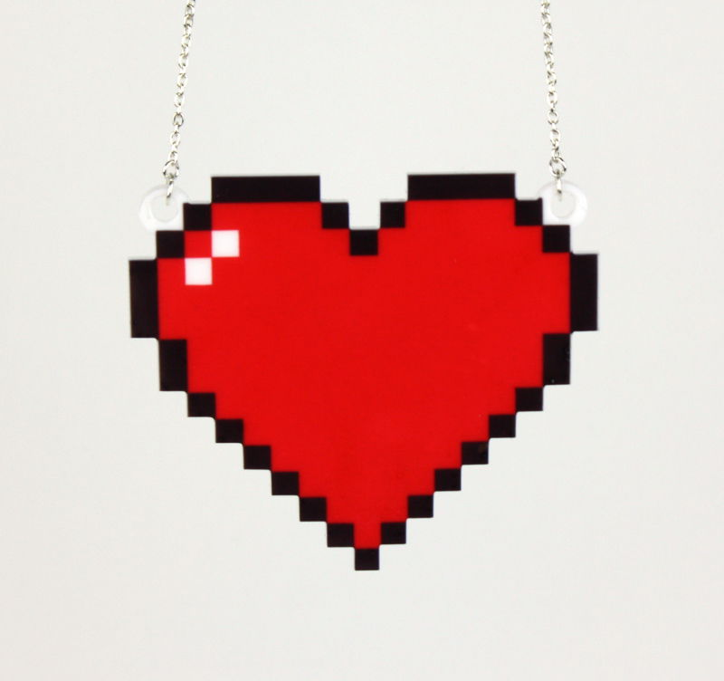8 Bit Heart Necklace, Silver Plated Chain - product images  of