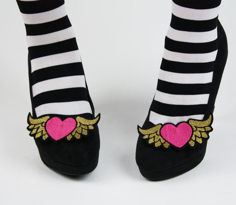 Winged,Heart,Shoe,Clips,,Alternative,Bride,shoe clips, geek, cute