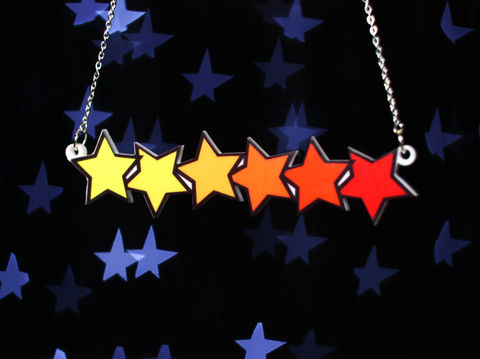 Gradient,Stars,Necklace,,Silver,Plated,Chain,,Tattoo,Style,stars, pendant, acrylic, laser cut