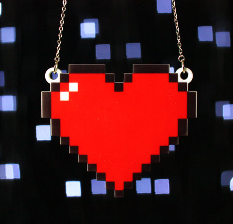 8,Bit,Heart,Necklace,,Silver,Plated,Chain,retro, video game, 8 bit, pixel, heart, pendant, acrylic, laser cut