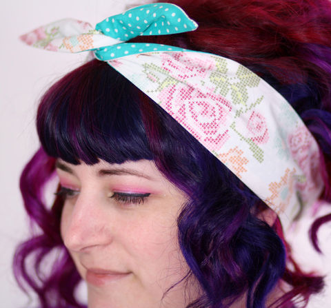 Reversible,Wired,Bow,Headband,,Cross,Stitch,Roses,and,Turquoise,with,White,Spots,dolly bow headband, wired, tie hair band