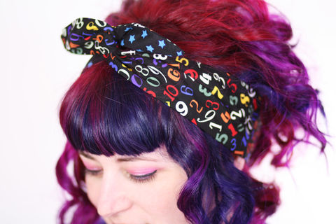 Reversible,Wired,Bow,Headband,,Numbers,Print,and,Black,with,Blue,Stars,dolly bow headband, wired, tie hair band