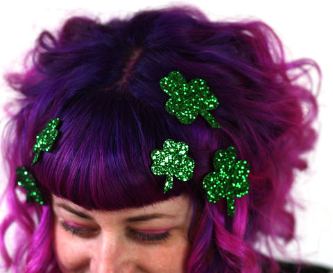 Shamrock,Hair,Adornments,,Accessory,,Glitter,st patricks hair accessories, glitter, halloween, halloween accessories