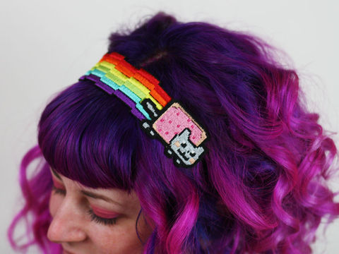 Nyan,Cat,Headband,,Pixel,Rainbow,Headband, nyan cat, meme, pixel rainbow