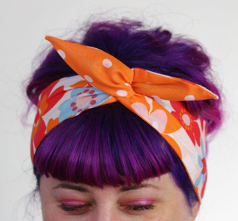 Reversible,Wired,Bow,Headband,,70s,Retro,Flowers,in,Orange,,Blue,and,White,Orange,with,Spot,dolly bow headband, wired, tie hair band