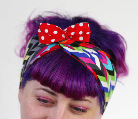 Reversible,Wired,Bow,Headband,,Bright,Chevrons,and,Red,with,White,Spots,dolly bow headband, wired, tie hair band