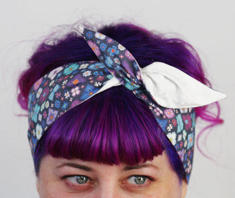 Reversible,Wired,Bow,Headband,,Purple,and,Blue,Pixel,Flowers,with,White,on,Spot,dolly bow headband, wired, tie hair band