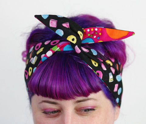 Reversible,Wired,Bow,Headband,,Licorice,and,Bright,Spots,dolly bow headband, wired, tie hair band