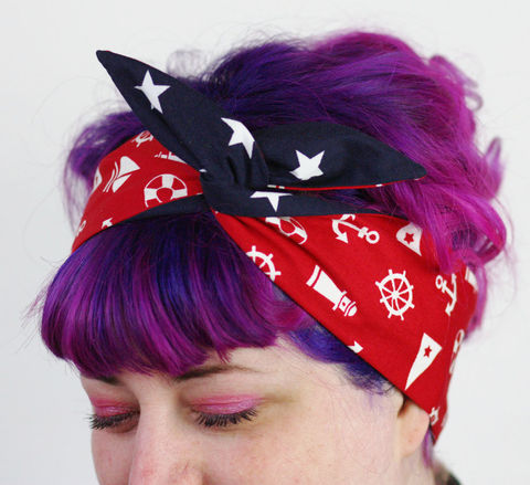 Reversible,Wired,Bow,Headband,,Nautical,Symbols,on,Red,and,Navy,with,White,Stars,dolly bow headband, wired, tie hair band