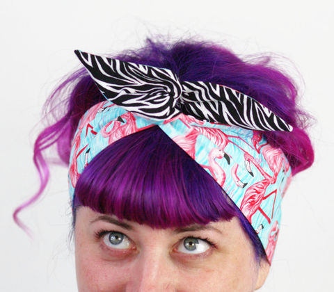 Reversible,Wired,Bow,Headband,,Flamingos,and,Zebra,dolly bow headband, wired, tie hair band