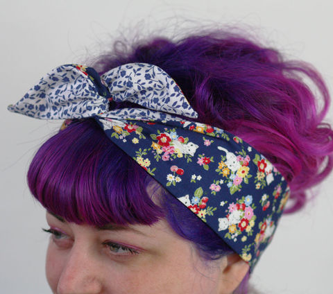 Reversible,Wired,Bow,Headband,,Navy,Kittens,and,Floral,dolly bow headband, wired, tie hair band