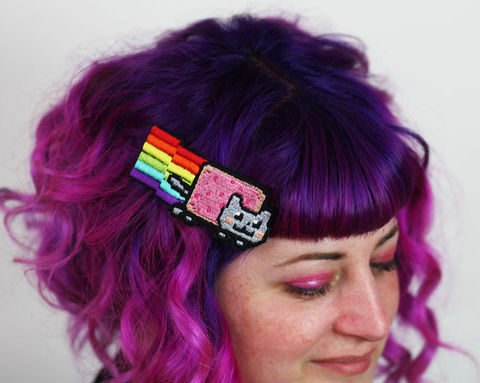 Nyan,Cat,Hair,Clip,Accessories,women,janine_basil,hair_clip,barette,hair_barrette,cute_barrette,rocket_hair_clip,rocket_ship,space_ship,spaceship_hair_clip,silver_hair_clip,silver_rocket,metallic,polyester_felt,rayon_thread,elastic