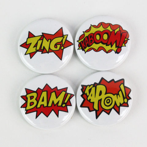 Pack,of,4,Badges,-,Choose,from,5,sets, buttons, janinebasil