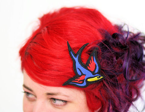 Swallow,Hair,Clip,,Tattoo,Style,Accessories,Clip,women,janine_basil,hair_clip,barette,hair_barrette,cute_barrette,rocket_hair_clip,rocket_ship,space_ship,spaceship_hair_clip,silver_hair_clip,silver_rocket,metallic,polyester_felt,rayon_thread,elastic