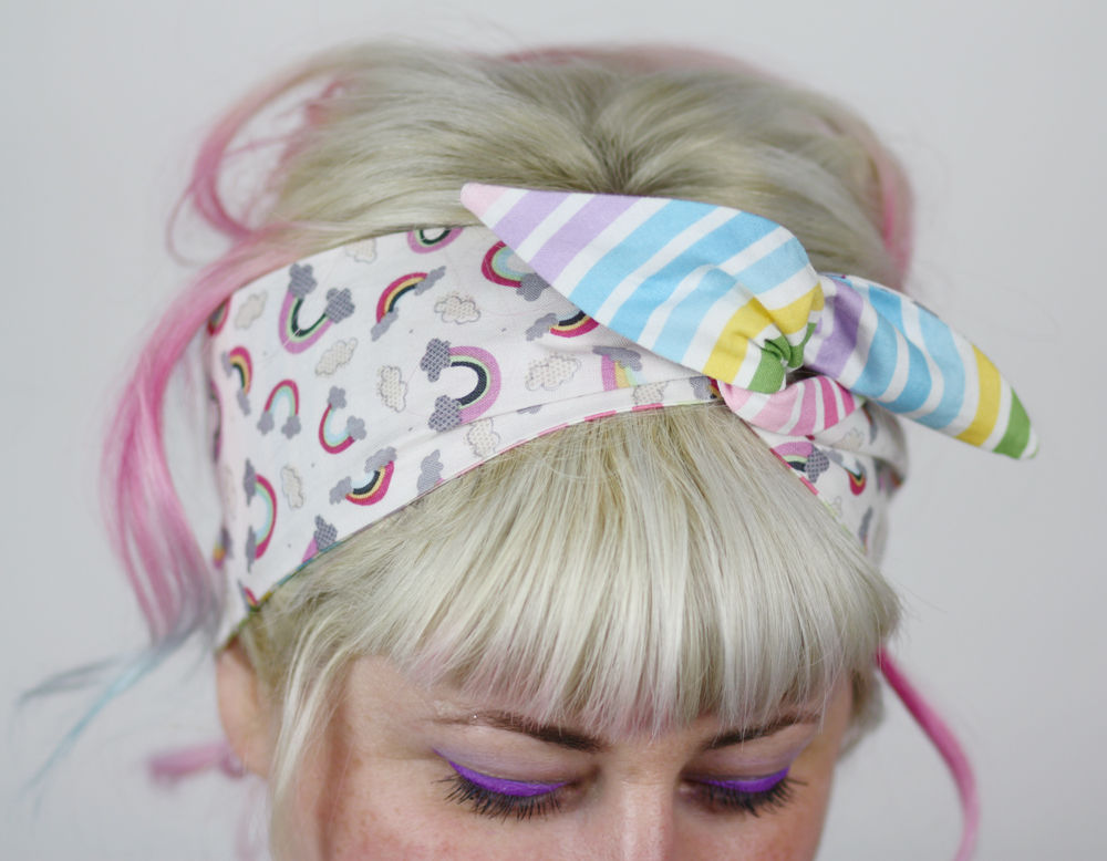 Reversible Wired Bow Headband, Pastel Stripe and Rainbows - product image