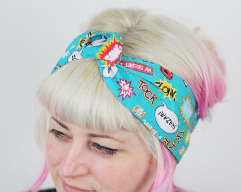 Comic,Blast,Wired,Bow,Headband,dolly bow headband, wired, tie hair band