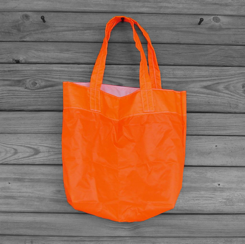 Neon,Orange,Tote,Bag,Water,Resistant,Zero,Porosity,Ripstop,Nylon,Parachute,Slider,parachute bag, slider bag, nylon ripstop, medium tote bag