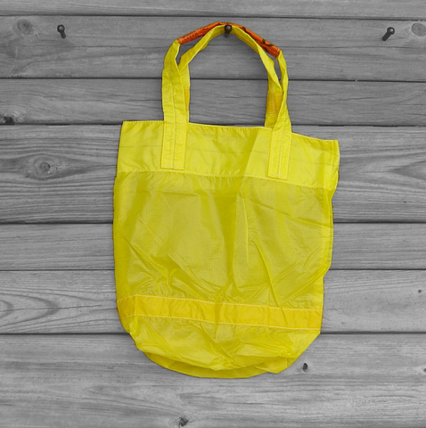 Small,Tote,Bag,Repurposed,Yellow,Parachute,Slider,parachute bag, slider bag, market tote, eco friendly