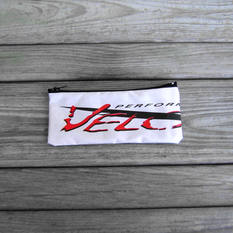 Zippered,Pouch,Velocity,Logo,with,Red,Lining,parachute bag, zipper pouch, velocity logo, ripstop nylon