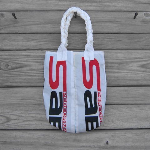 Small,Tote,Bag,:,Marine,Blue,Sabre2,Parachute,Logo,Panels,with,White,Handles