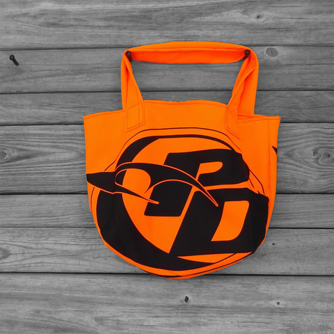 Orange,and,Black,Reusable,Market,Tote,Bag,Repurposed,PD,Flags,parachute bag, nylon ripstop, market bag