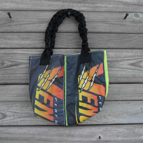 Small,Tote,Bag,:,Purple,and,Neon,Yellow,Vengeance,Parachute,Logo,Panels
