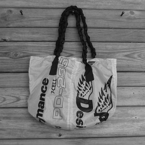 Nylon,Ripstop,Parachute,Bag,Tote,Repurposed,End,Panels,with,PD,Wings,Logos,parachute tote bag, pd wings logo, nylon ripstop, parachute bag