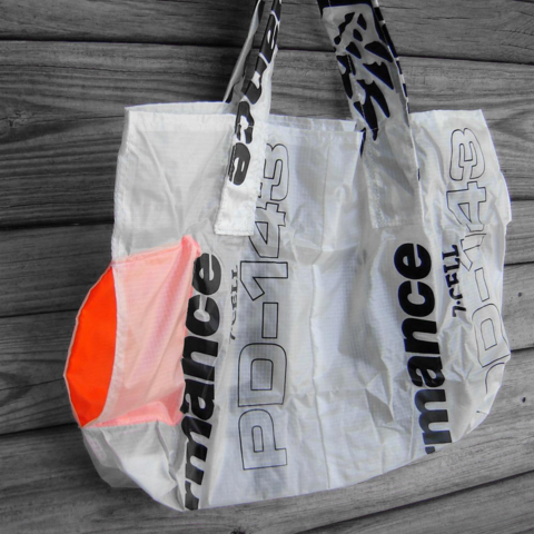 PD,Wings,Parachute,Market,Bag,with,integrated,neon,orange,pocket,parachute bag, market nag, nylon ripstop, eco friendly shopping bag