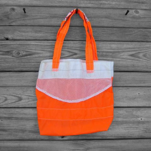 Repurposed,Neon,Orange,Zero,Porosity,Ripstop,Nylon,Katana,Parachute,Slider,Tote,Bag,nylon ripstop, parachute bag,