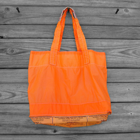 Neon,Orange,Parachute,Slider,Tote,Bag,with,Warning,Label,Appliques,nylon ripstop, parachute bag,