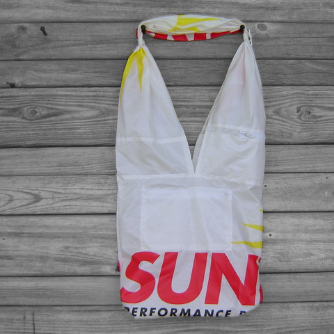 Parachute,Tote,Bag,:,Upcycled,Sunriser,Logo,Panels,parachute bag, market bag, tote bag