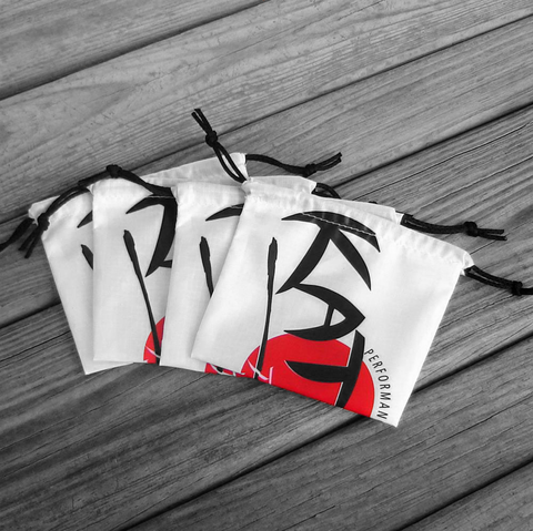 Four,Small,Katana,Parachute,Logo,Drawstring,Bags,with,Black,Drawstrings,nylon ripstop, parachute bag, stiletto logo, drawstring pouch