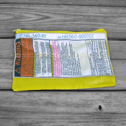 Yellow,Ripstop,Zipper,Pouch,with,Warning,Label,parachute logo, zipper pouch, warning label