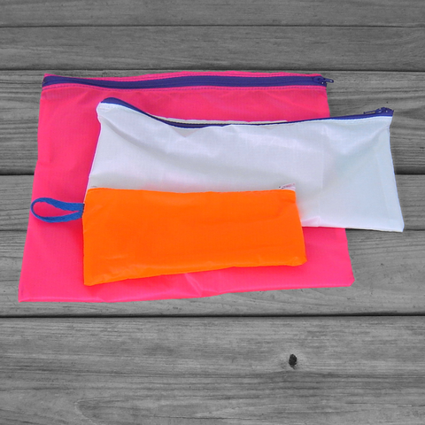 Zipper,Pouches:,Neon,Pink,,White,,and,Orange,Parachute,Ripstop