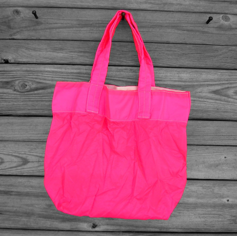 Neon,Pink,Medium,Parachute,Slider,Tote,Bag,parachute bag, slider bag, nylon ripstop, medium tote bag
