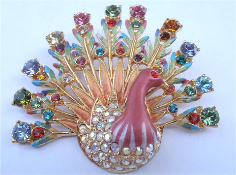 Vintage,Peacock,Brooch,Crystal,Pink,Art,Deco,Multicolor,Rainbow,Aurora,Borealis,Rhinestone,vintage peacock pin, vintage peacock brooch, rainbow crystal brooch, aurora borealis pin, aurora borealis brooch, painted peacock pin, colorful rhinestone brooch, pink art deco brooch, multicolor crystal brooch, multicolored pin, villacollezione