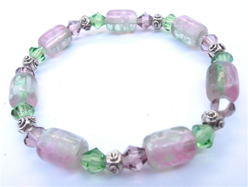 Handmade Purple Green Bead Bracelet Transparent Elastic Violet Lilac Pink Lavender Crystal Jewelry Costume Accessory Decorative Collezione - product images  of
