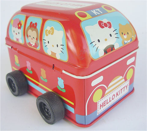 Vintage,Hello,Kitty,Bus,Red,Toy,School,Sanrio,Tin,Can,Car,Kawaii,Japanese,vintage red bus tin car, rare hello kitty red bus, vintage red metal box, vintage red school bus, vintage sanrio bus, vintage red tin can, vintage red toy car, hello kitty red toy bus, vintage kawaii red bus, japanese kawaii red car, hello kitty friends