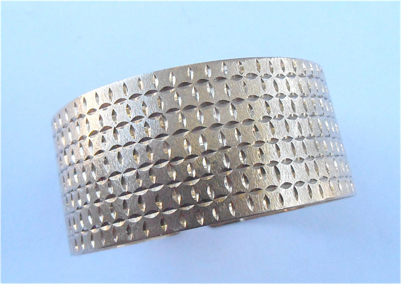 Vintage Genuine 14K Gold Textured Cuff Bracelet Extra Wide Bangle Etched Engraved Authentic Fine Jewelry Villa Collezione Villacollezione - product images  of