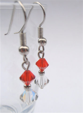 Handmade,Ruby,Red,Crystal,Dangling,Earrings,Aurora,Borealis,Beads,Bicone,Dangle,Swarovski,Component,Element,Silver,Plate,Costume,Jewelry,handmade red crystal bicone bead dangling earrings, aurora borealis swarovski component crystal element earrings, red ruby crystal dangling earrings, aurora borealis bicone dangling earrings, red ruby earrings, villa collezione, red crystal earrings