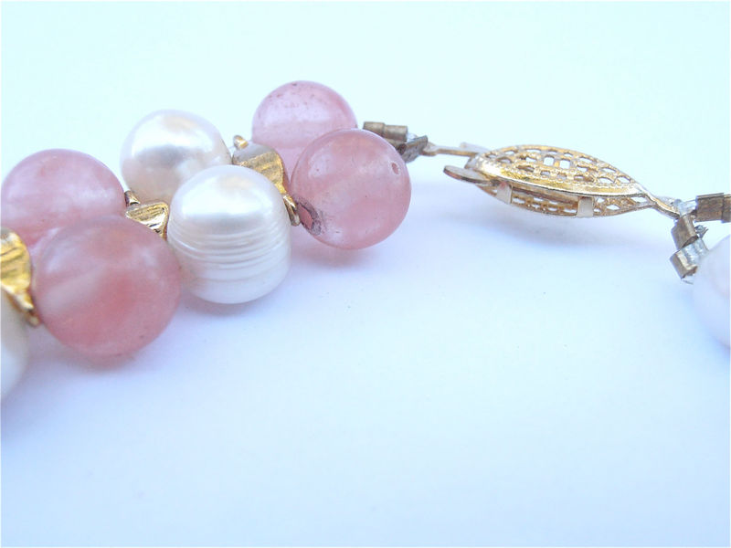 Vintage Rose Quartz Pearl Necklace Double Strand Pink Stone Cultured Genuine 17 Inch 9mm Bead Translucent Bridal Entourage Villa Collezione - product images  of